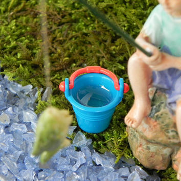 Fairy Garden Accessories Fishing Boy Fairy Figurine  - miniature accessory  - terrarium supply - fairy accessories - gone fishing mini pail