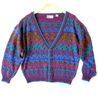 6068547aa0b91a Vintage 80s Purple Cosby Cardigan Ugly Sweater - The Ugly Sweater Shop