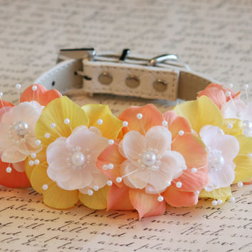 Peach and Yellow Floral Dog Collar, Pet wedding accessory, Peach wedding idea, Pearl and Rhinestone, Wedding idea , Dog Lovers, Boho wedding