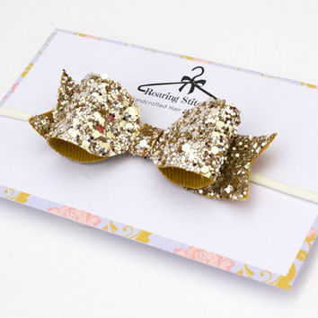 Gold glitter headband - glittery hair bow - gold headpiece - womens headband - hair band - adult headband woman - hair accessories