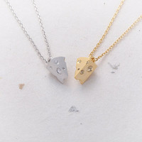 Cheese Piece Necklace - Gold // N066-GD // Gold Plated, Friend gift, Everyday jewelry, Cute pendant, Simple, Gold necklace
