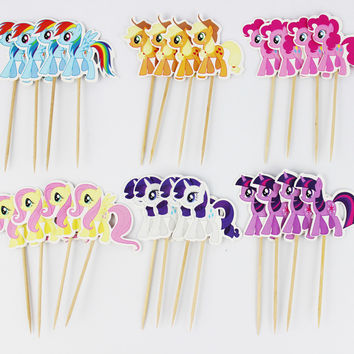 24pcs My little pony Cupcake Topper Picks,birthday/wedding party decorations,kids evnent party favors,Party decoration