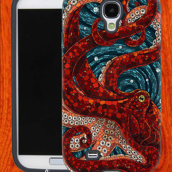 Mosaic Octopus Art,Accessories,Case,Cell Phone,iPhone 4/4S,iPhone 5/5S/5C,Samsung Galaxy S3,Samsung Galaxy S4,Rubber,27-11-9-Hk