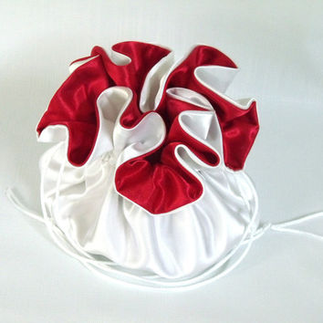 Wedding Bag Satin Bridal Money Purse White with Red No Pockets