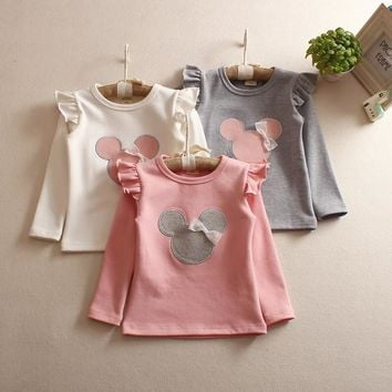 Round Neat retail 2017 new style long sleeved baby girl t shirts comfortable lovely Cartoon pattern cotton kids girl clothes