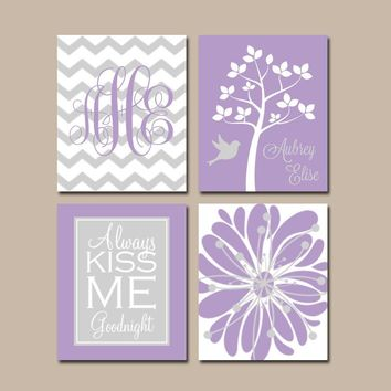 Lavender Gray Nursery Art, Girl Monogram Wall Art, CANVAS or Prints, Baby Girl Nursery Decor, Always Kiss Me, Girl Tree Nursery, Set of 4
