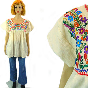 tEMPSALE Vintage Off White Cotton Gauze Tunic/ Ethnic Artisan Shirt / Mexican Embroidered Blouse/ Tent Top /Hippie Boho Oversize Festival Cl