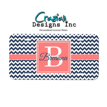 Monogram Front License plate - Navy Coral Chevron License Plate - Personalized car tag - Car Accessories - Monogram Gift