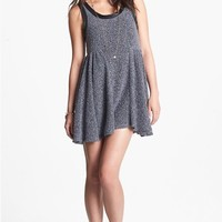 Mimi Chica Faux Leather Trim Babydoll Sweater Dress (Juniors) | Nordstrom