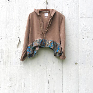 Plus Size Lagenlook Cropped Hoodie XL 2X womens upcycled clothing brown and paisley pullover sweatshirt eco friendly clothing by wearlovenow