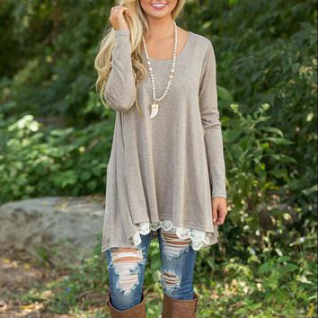 NFIVE Brand Lace Trimmed Oatmeal Loose Fit Tunic