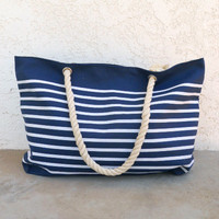 Nautical Rope Handle Tote in Navy [5767] - $24.00 : Vintage Inspired Clothing & Affordable Dresses, deloom | Modern. Vintage. Crafted.