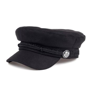 VORON New female hat wool stitching lace black rope fixed pirate silver buckle beret hat fashion adult cap cotton hat shade cap