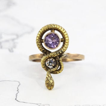 Victorian Snake Ring, Antique 14k Amethyst & Diamond Statement Ring, Eternity Knot Ouroboros Alternative Bohemian Love Token Engagement Ring