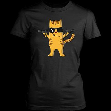 Women's Cat with Gun T-Shirt - Funny Cat Lovers Gift