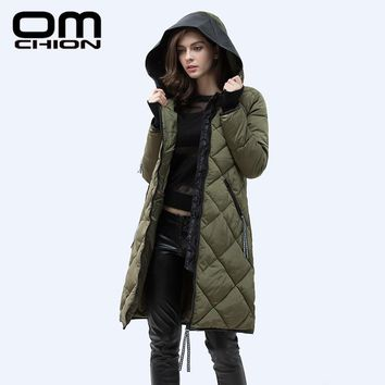 OMCHION 2017 Autumn Winter Jacket Women Slim PU Leather Hooded Thick Down Cotton Padded Coat Casual Warm Parka XXXL BY14