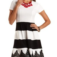 Lace-Trim Striped Skater Dress by Charlotte Russe