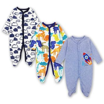 Newborn Toddler Infant Rompers Baby Girl Boy Long Sleeve Sleepsuit Set 3-12 Months Jumpsuit Outfits 3 Pack Baby Clothing