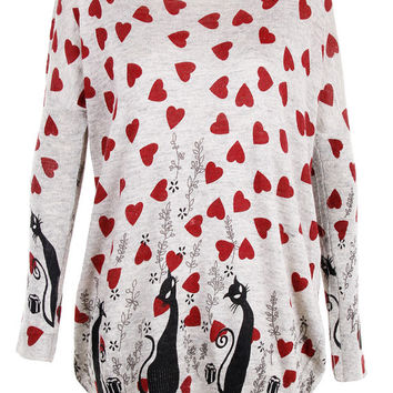 Cat with hearts print top jumper knitwear oversized top shirt womens ladies cardigan