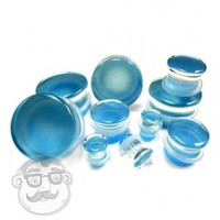 Pacific Blue Glass Plugs In 0 Gauge - 1 Inch"