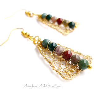 Agate wire crochet earrings - gemstone jewelry - agate wire wrapped earrings - gold plated non tarnish wire earrings - valentine gift