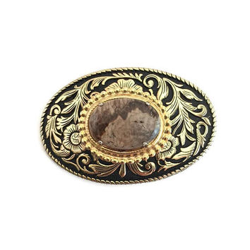 Western Belt Buckle with Brown Agate Stone, Ladies Belt Buckle, Interchangeable Belt Buckle, Belt Buckles for Women, Cowgirl Belt Buckle