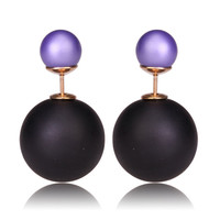 Gum Tee Mise en Style Tribal Earrings - Matte Black and Purple