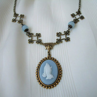 Light Blue Praying Hands Cameo Necklace Antique Brass Floral Link Blue Jade Bead Handmade Gifts Victorian Style