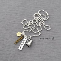 personalized megaphone necklace, Initial Necklace cheerleading 3D megaphone Charm, monogram, team necklace, cheerleader, flower charm, Love