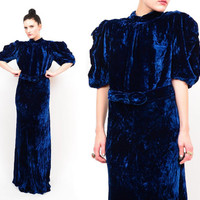 Antique 30s Cobalt Blue Silk Velvet Ruched Sleeves Bias Cut Gown / Belted Formal Gatsby Maxi Dress S / M