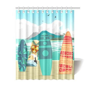Sea Landscape Polyester Shower Curtain 60x72 inch