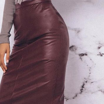 Vintage High Waist Women Leather Skirt