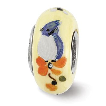 Fenton Yellow Hand Painted Baby Blue Jay Glass & Sterling Silver Charm