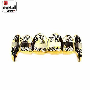 Jewelry Kay style Men's Vampire Fangs 14k Gold Plated 2 Tone Mouth Caps Top Teeth Grillz L020-C3-G