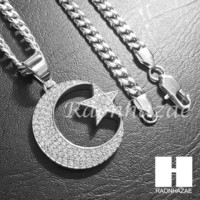 Iced Out 316L Stainless steel Silver Muslim Moon&Star Pendant 5mm Cuban Chain S25