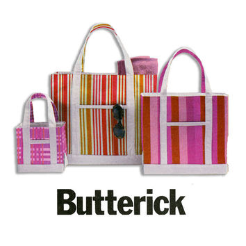 Canvas Tote Bags Pattern UNCUT Butterick B5622 Market Bags Bucket Bags Carry All Beach Bag Small Medium and Large OOP Sewing Patterns