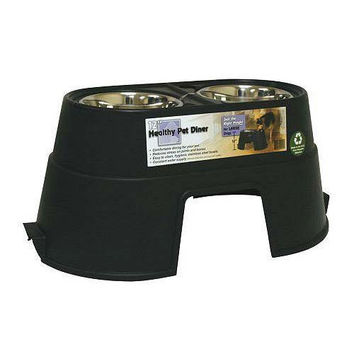 """Our Pets Healthy Pet Diner Elevated Dog Feeder Large Black 27"""" x 14.5"""" x 12"""""""