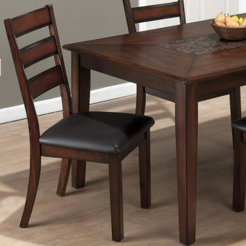 Baroque Brown Slat Back Dining Chair Leatherette Seat (Set of 2)