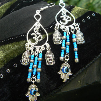 spiritual chandelier earrings Ohm earrings Hamsa  earrings eye spiritual earrings yoga buddha new age boho tribal beach hipster style