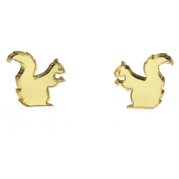 Squirrel Earrings in Mirror Gold