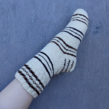 hand knitted wool socks, striped white brown stockings, natural wool leg warmers, handknit women socks, men socks, knit clothing, slippers
