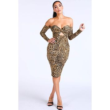 Women's Trendy leopard printed bodycon dress with long sleeves Off Shoulder Dress
