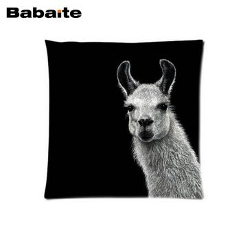 Babaite Customized Hipster Llama Lama Black Square Two Sides Pritning Beauty Pillow Cover Bedding Set Home Product