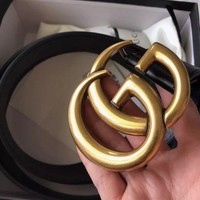 New GUCCI Women's Real Leather Double G GG Gold Buckle Size 85 34 Black
