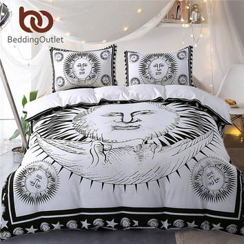 BeddingOutlet Sun God Bedding Set Moon Black and White Bed Cover Drop Ship Cozy Twin Full Queen King Duvet Cover Set Qualified