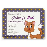 Kitten cartoon birthday print invitations
