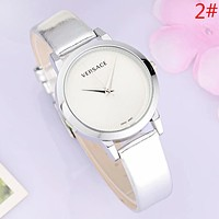 Versace Fashion New Dial Letter Leather Watchband Women Men Business Casual Wristwatch Watch