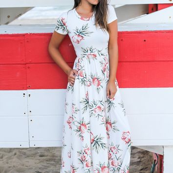 White Floral Maxi Dress with Short Sleeves
