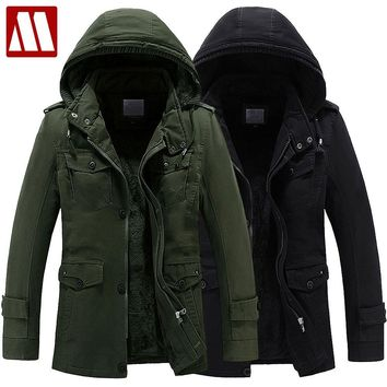 MYDBSH Warm Coat Winter men Hooded Thicken Cotton Coats Military Style Overcoat Men windproof snow parka Jacket casual Outerwear