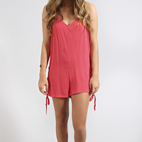 back for more tie romper - coral